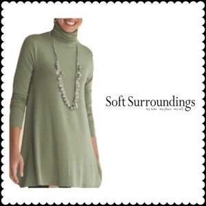 Soft Surroundings Women's XL Green Timely Turtleneck Tunic Top